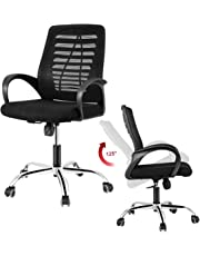 DOSLEEPS Office Chair, Heavy Duty Comfortable V Shape Medium Back Home Office Work Computer Gaming Desk Chair, Ergonomic Design, Tilt Mechanism, 360 Degree Swivel, Max Weight Capacity 150kg, Black