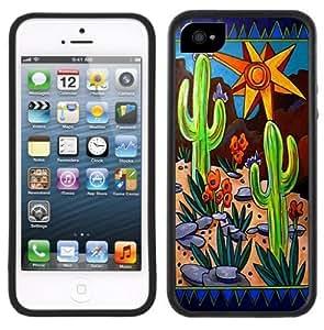Cactus Art Handmade iPhone 5 Black Bumper Plastic Case