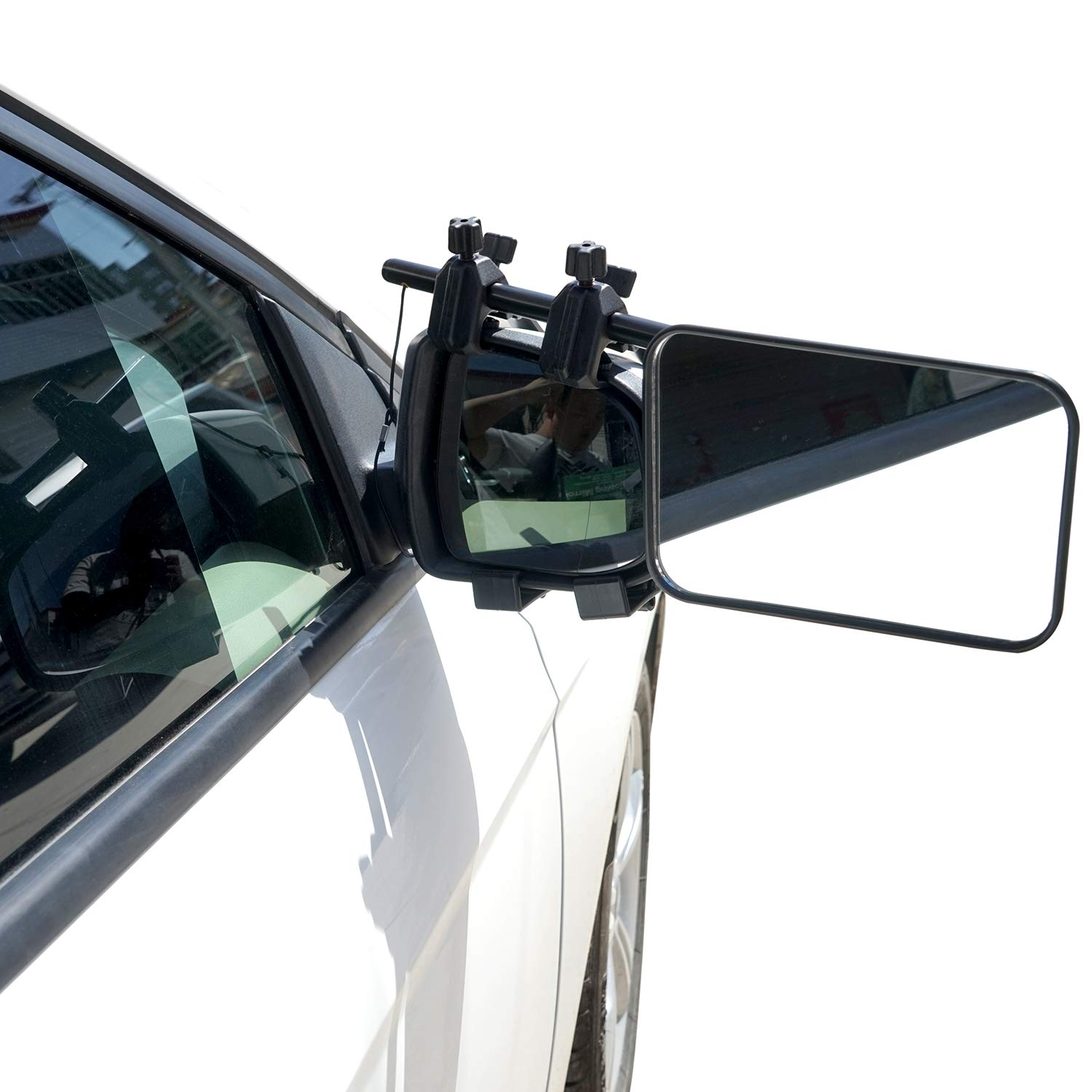 Homeon Wheels Clip-On Towing Mirror 1 Piece Universal Extended Mirror and Extra Wide Adjustable for Caravan Camper Boat Trailer