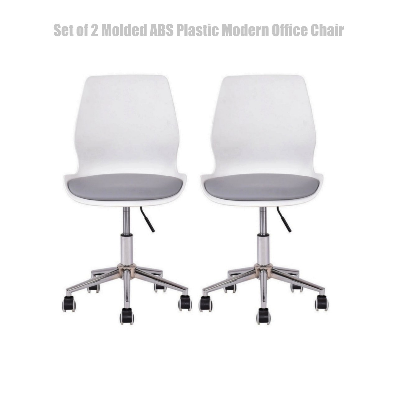 Modern Molded Chair Height Adjustable Upholstered Side Chair Swivel Mid Century Heavy Duty ABS Plastic Durable PU Seat Side Chair - Set of 2 White #1454