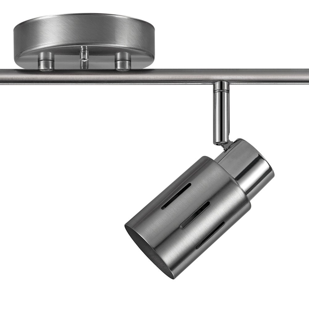Globe Electric Kenneth 4-Light LED Track Lighting, Brushed Steel Finish, Chrome Accents, LED Bulbs Included, 59326 by Globe Electric (Image #3)