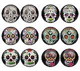 LilMents 6 Pairs Sugar Skull Black Pattern Mens Womens Stainless Steel Stud Earrings Set (Set C)