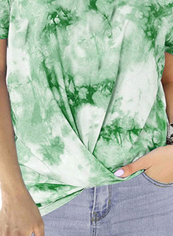 GOSOPIN Women Casual Short Sleeve Twist Knot Tunic Tops Tie Dye T-Shirt