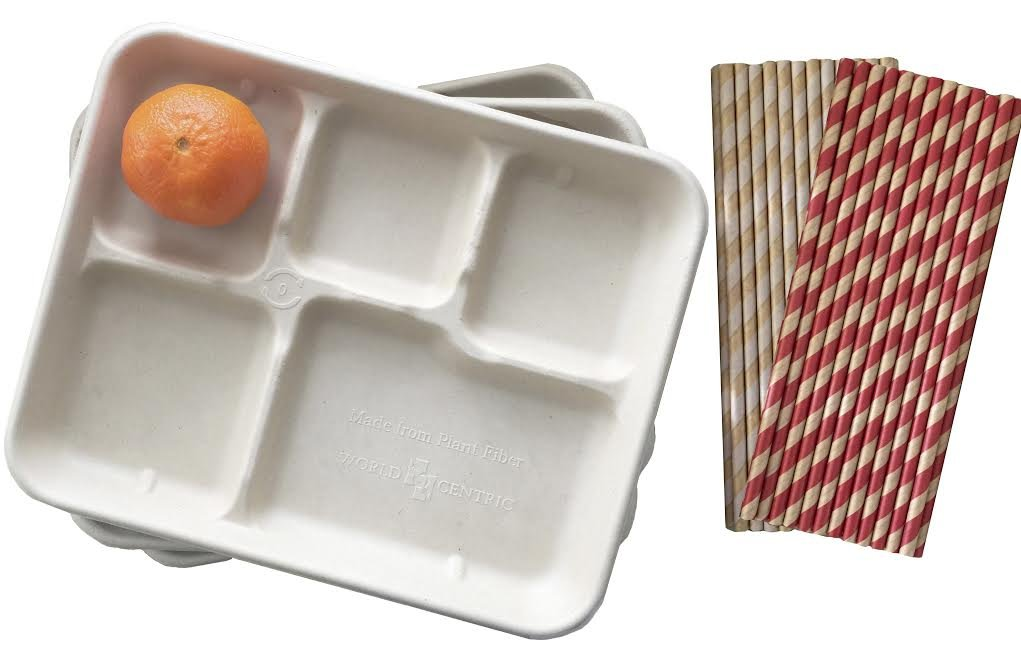 Retro Style Lunch Trays - Biodegradable Kraft Brown Paper and Kraft and Red Paper Drinking Straws - 24 Trays and 50 Straws