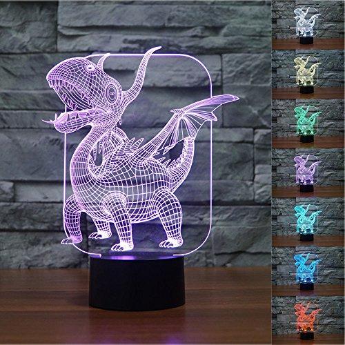 Pterosaur Dinosaur 3D LED Night Light Table Desk Lamps, Elstey 3D Optical Illusion Visual Lamp 7 Colors Touch Table Desk Lamp for Christmas Gift (W Hotel Halloween Hong Kong)