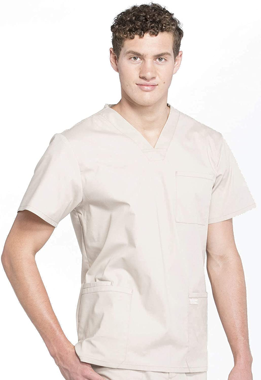 WW695 Khaki CHEROKEE WW Professionals Mens V-Neck Scrub Top 2XL