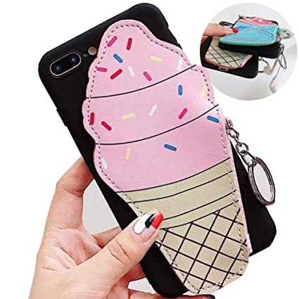 bb71d0bf37b4 SGVAHY Wallet Phone Case for iPhone 6 / 6s, Cute Fun Zipper Wallet Case  with Coin Purse for Girls Women Soft Silicone Shockproof Slim Protective  Case ...