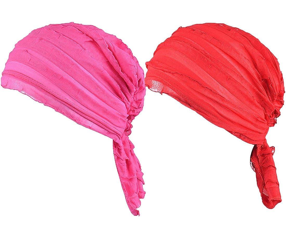 FAIRYRAIN Women 2 Pack Ruffle Chemo Hat Beanie Head Scarf Hair Coverings Turban Headwear for Cancer Patients