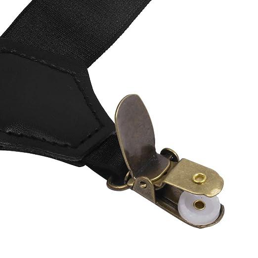 6f73975fb09 Freebily Mens Adjustable Elastic Leg Harness Sock Suspender Garters Belt  with Plastic Clips Type B One Size at Amazon Men s Clothing store