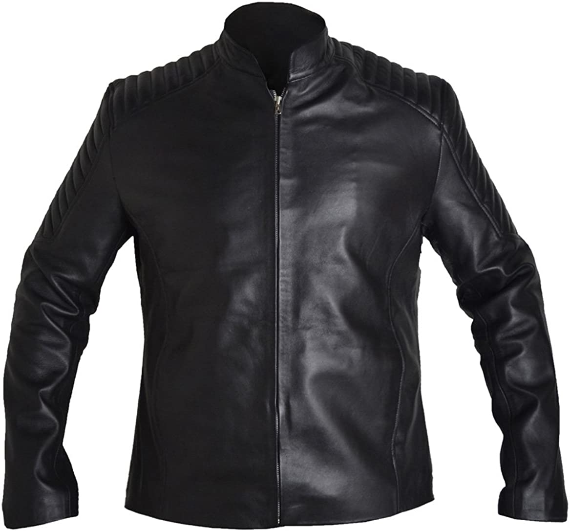 ESHAL Mens Black Day Casual Black Faux Leather Jacket XXS-5XL Black