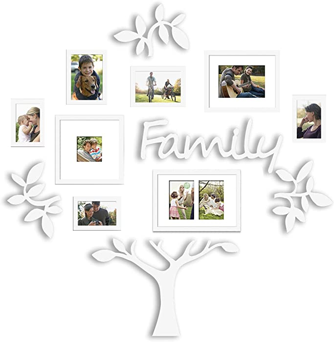 Jerry & Maggie - Photo Frame | Plaque College Frame - Wall Decoration Combination - White PVC Picture Frame Selfie Gallery Collage with Hanging Template & Wall Mounting Design | Family Tree