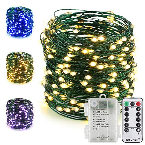 ER CHEN Fairy Lights with Remote, Battery Operated Green Copper Wire 66Ft 200 LED String Lights Color Changing 8 Modes Christmas Lights with Timer for Bedroom, Patio, Garden, Yard (Warm White&Blue) by ErChen