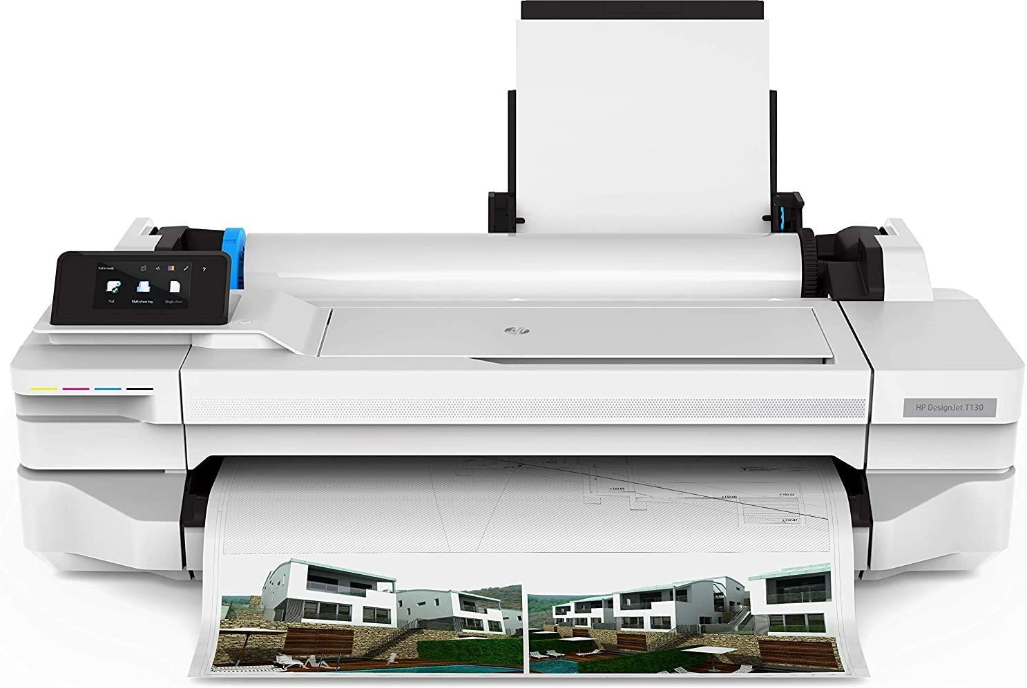 HP DesignJet T130 24-in Printer (5ZY58A) with Power Strip Surge Protector