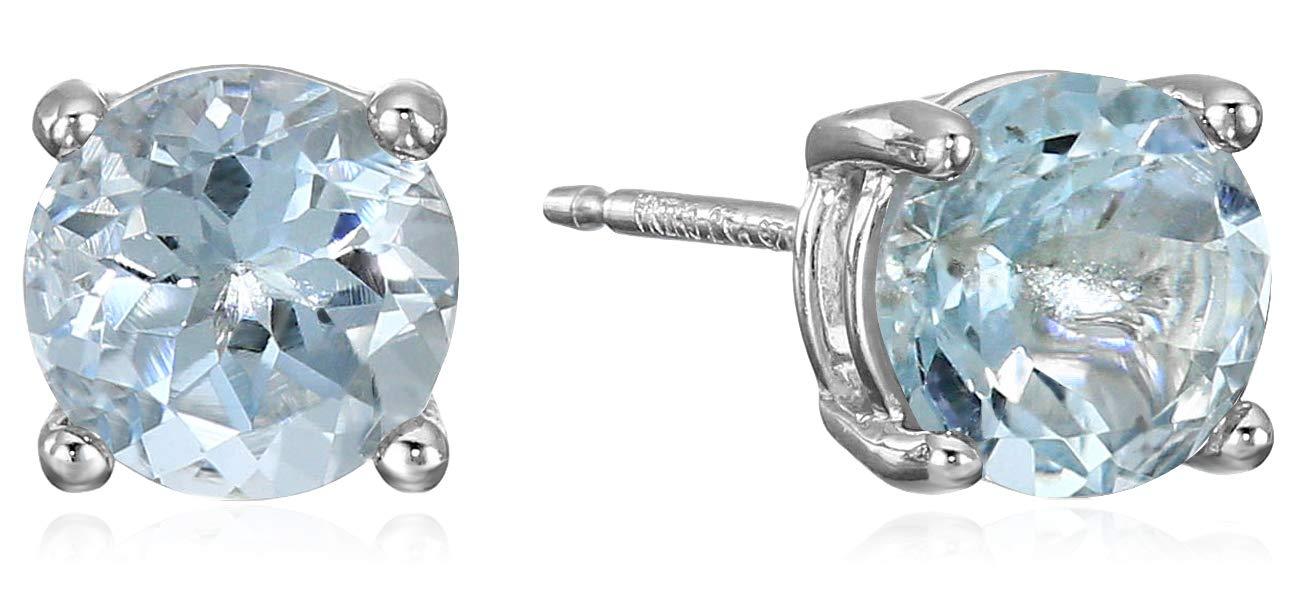 Amazon Essentials Sterling Silver Round Aquamarine Birthstone Stud Earrings (March) by Amazon Essentials