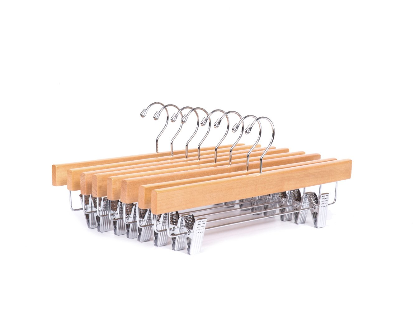 Amber Home 24 Pack Solid Gugertree Deluxe Wooden Pants Hangers Bottom Hanger Jeans Hanger Skirt Hanger with 2-Adjustable Clips (Natural, 24) by Amber Home