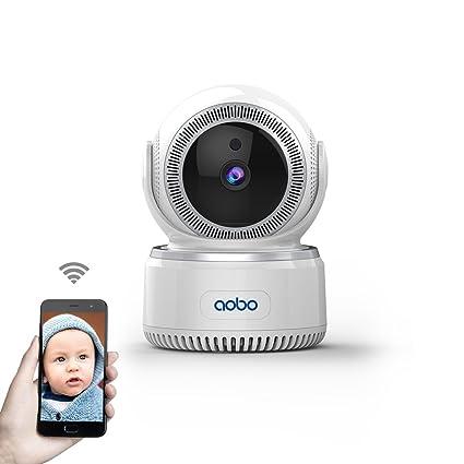 AOBO IP Camara de Vigilancia WiFi Interior Inalámbrico HD P2P con Micrófono y Altavoz IR Visión