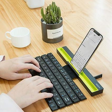 LZDseller01 Teclado Bluetooth Plegable, Teclado inalámbrico portátil Enrollable, Compatible con Dispositivos/Almohadillas/teléfonos iOS, Android y ...