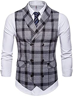 GAGA Men Slim Fit V Neck Double Breasted Business Casual Waistcoat Suit Vest