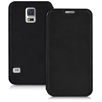 kwmobile Funda compatible con Samsung Galaxy S5 / S5 Neo - Carcasa con [tapa tipo libro] - Case protector en [negro]