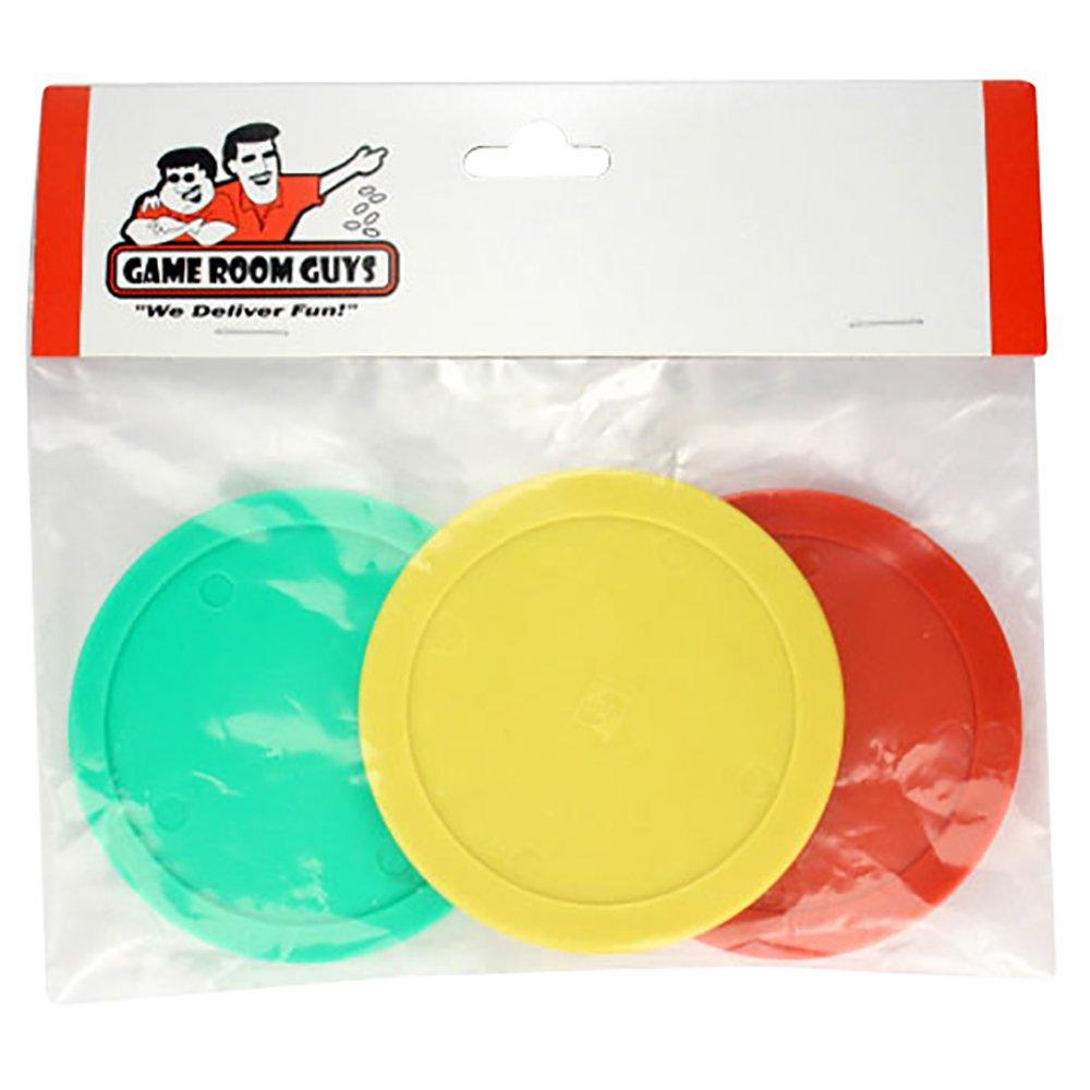 Game Room Guys Set of 3 - Yellow Green Red Air Hockey Pucks 3-1/4''