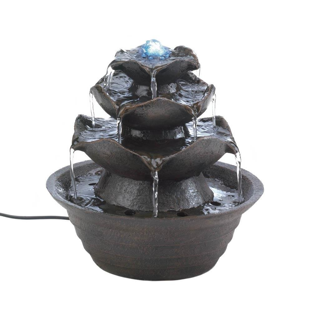 Smart Living Company Outdoor LED Tabletop Lotus Fiberglass Yard Garden Fountain Pump