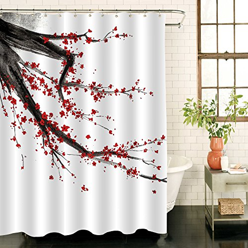 MitoVilla Japanese Bathroom Shower Decorations, Black and Red Cherry Blossom Tree Shower Curtain Set, Spring Floral Pattern Watercolor Painting, Standard Size 72 x 72 (Spring Blossom Pattern)