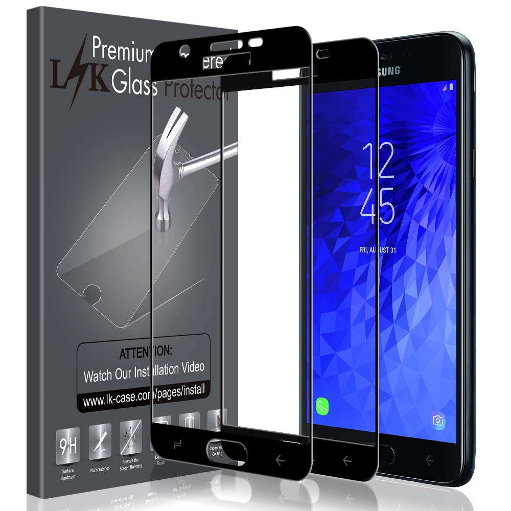 LK [2 Pack] Screen Protector for Samsung Galaxy J7 Crown, [Full Cover]  Tempered Glass with Lifetime Replacement Warranty