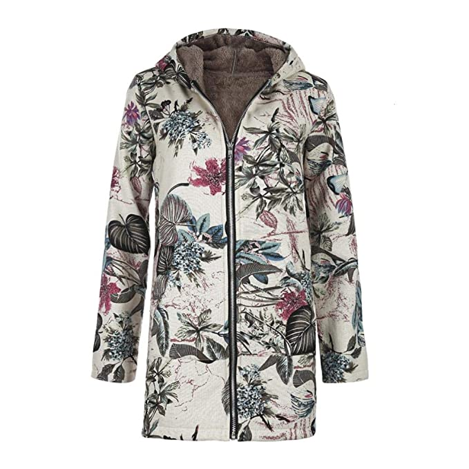 a6f6958fd69 Innersetting Retro Women Fleece Winter Coats Casual Floral Print Hooded  Jackets (S)