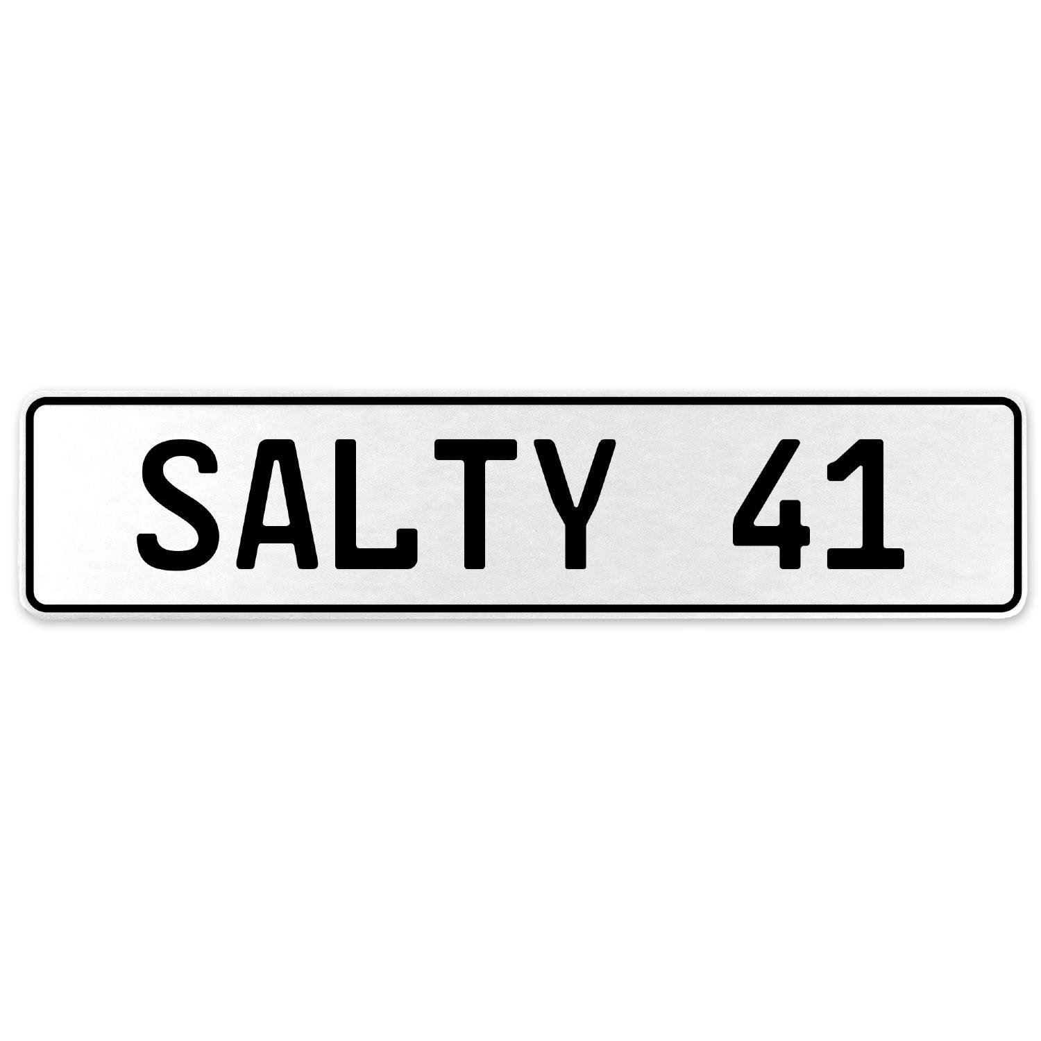 Vintage Parts 556717 Salty 41 White Stamped Aluminum European License Plate