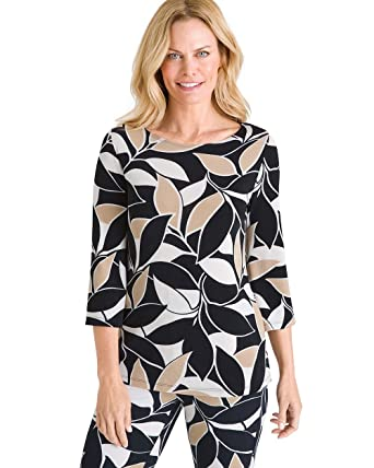 c79d6bc6703576 Chico s Women s Travelers Classic Foliage Print Stretch Top at Amazon  Women s Clothing store