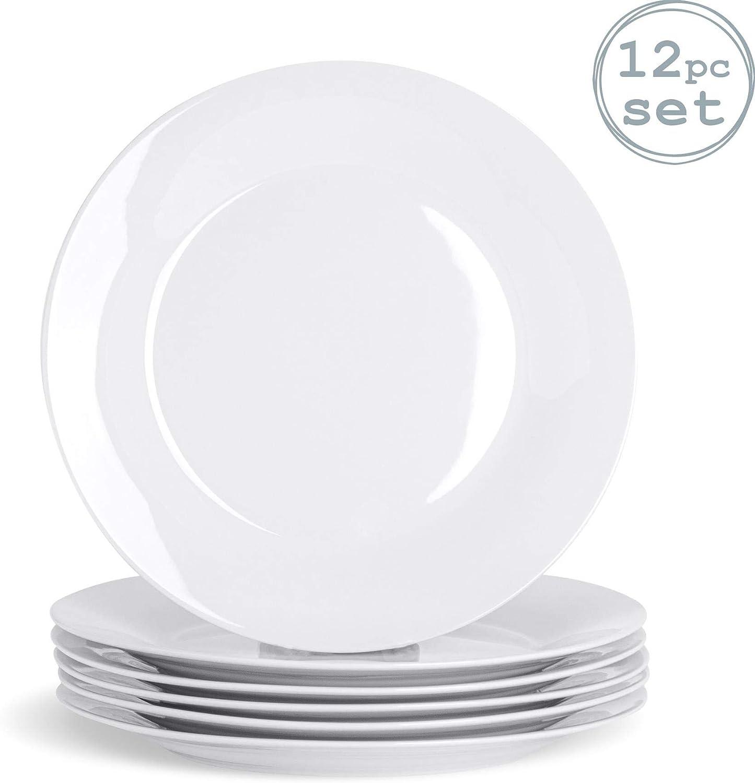 Borde Ancho Pack de 6 268/mm Argon Tableware Juego de Platos Llanos Blancos
