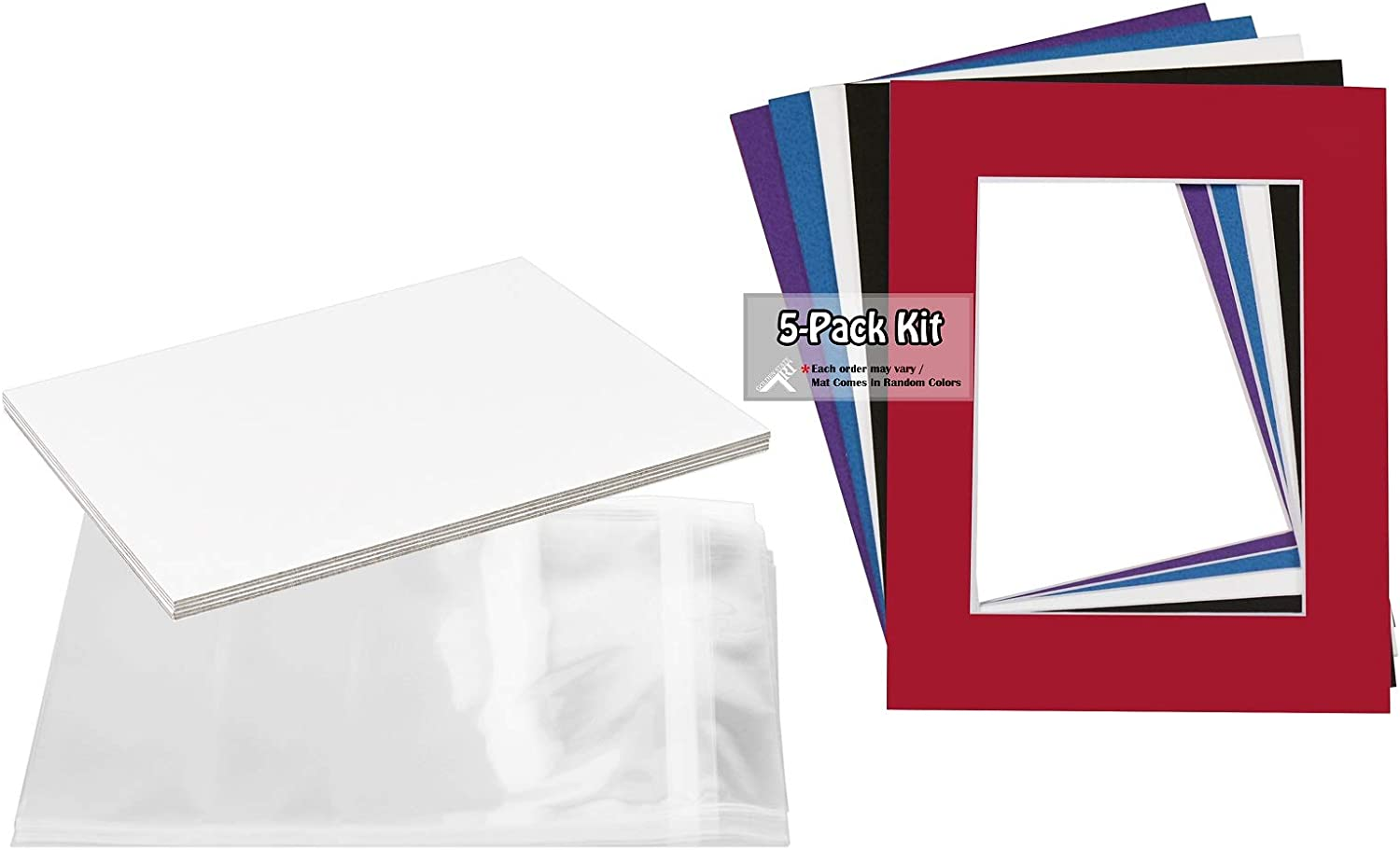 Includes 5 High Premier Acid Free Matts /& 5 Backing Board /& 5 Clear Bags Golden State Art Pack of 5 Mixed Colors Pre-Cut 16x20 Picture Mat for 11x14 Photo with White Core Bevel Cut Mattes Sets