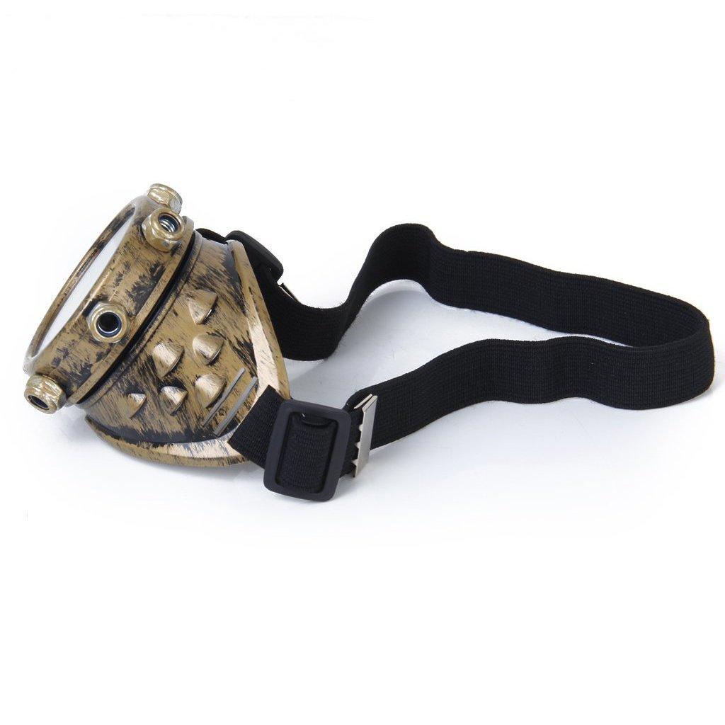 laton Cikuso Gafas de seguridad Vintage Gafas Steampunk Gafas ciclope Cosplay Gotico Traje para el ojo izquierdo