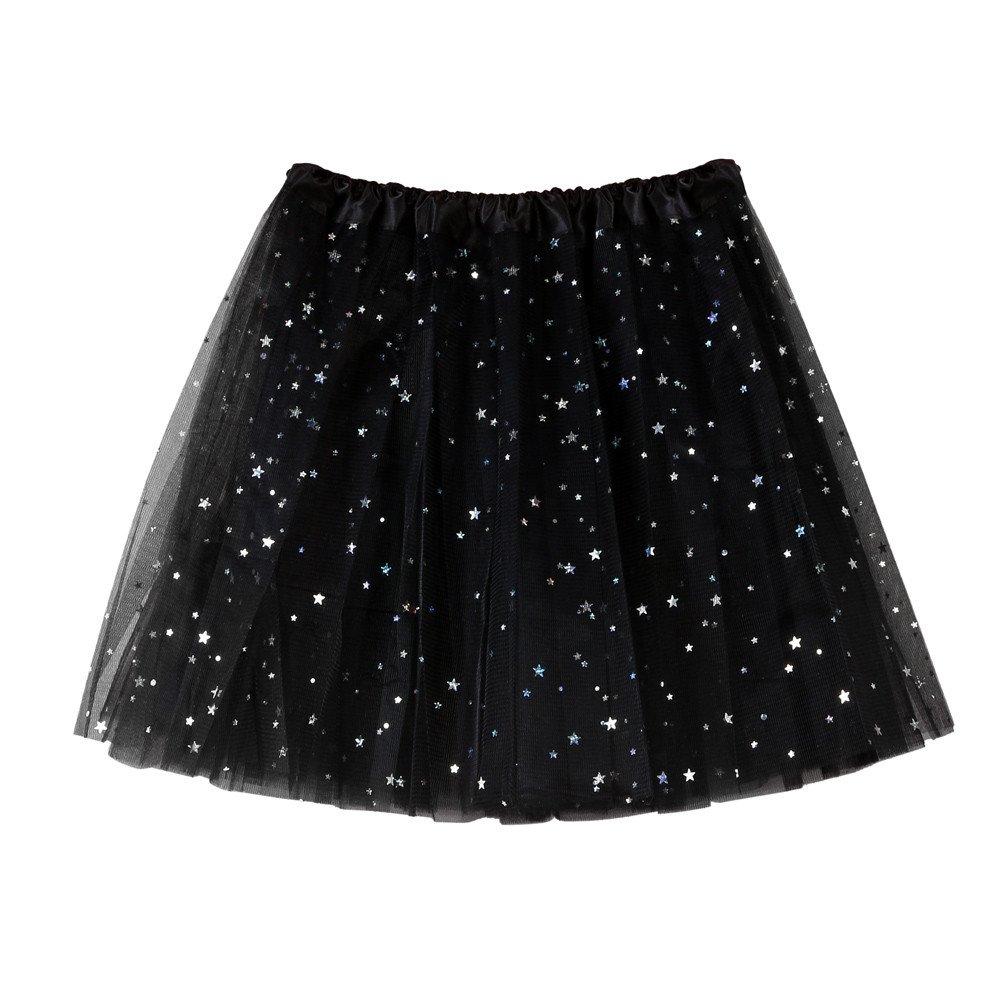 NUWFOR Women's Layered Stars Sequins Tutu Skirt Princess Ballet Dance Dress?Black?One Size?