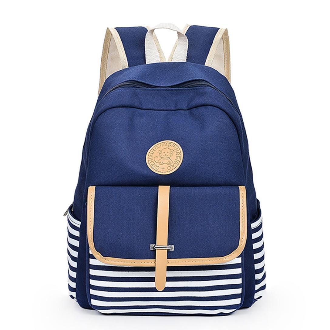 Amazon.com  Vinjeely Women Girls Canvas Stripe Bookbags School College Bags  Travel Backpack Daypack (Blue)  Baby d28a59a241bdd