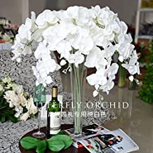 """Calcifer 31""""Artificial Silk Phalaenopsis Orchid Stem Bouquets Artificial Flowers for Wedding Party Home Garden Decor (5, Pure White)"""
