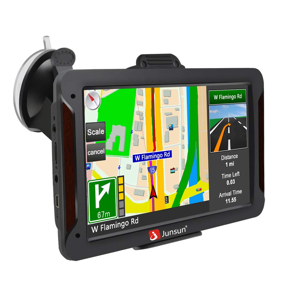GPS Navigation for Car, 7 inch Car GPS HD Touch Screen 8GB 256MB Sat Nav for Cars with USA, Canada, Mexico Lifetime Map Free Update by junsun