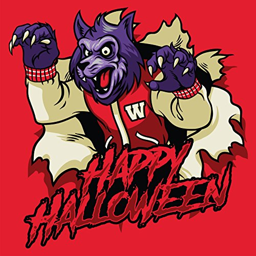 Shinobi Stickers Scary Supernatural Werewolf Happy Halloween Icon With Red Background Vinyl Sticker (2
