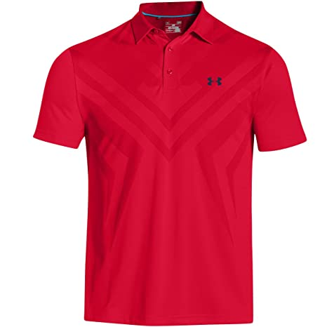 Under Armour Golf Mens ArmourVent Tips Polo, Red/Academy, SM ...