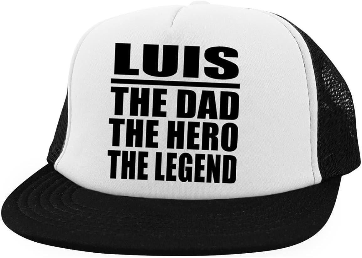 Designsify Luis The Dad The Hero The Legend - Trucker Hat Visera, Gorra de Béisbol/Golf - Regalo para Cumpleaños Aniversario el Día de la Madre o del Padre