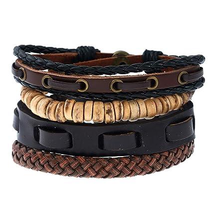 Set 1 Vintage Qinlee Tressés Cuir Bracelets Homme Cordon 7Yfgb6yv