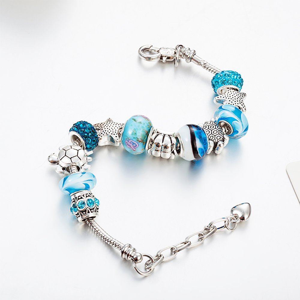 107fbcabb2d6f European Ocean Beach Charm Beaded Adjustable Chain Bracelet 7.5 Inch + 1.5