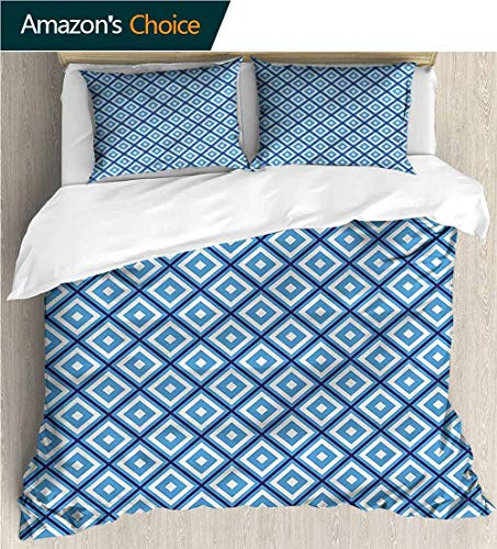 """VROSELV-HOME 3 Pcs King Size Comforter Set,Box Stitched,Soft,Breathable,Hypoallergenic,Fade Resistant with 2 Pillowcase for Kids Bedding-Abstract Geometric Diamond Form (90"""" W x 90"""" L)"""