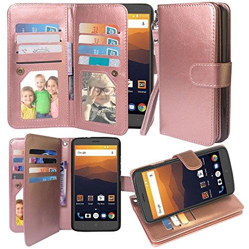 12 Card Slot Kickstand Leather Wallet Flip Case Cover Wrist