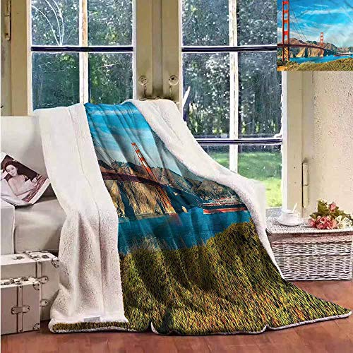 Sunnyhome Fleece Blanket Landscape San Francisco Ocean View Luxurious Plush Blanket W59x31L
