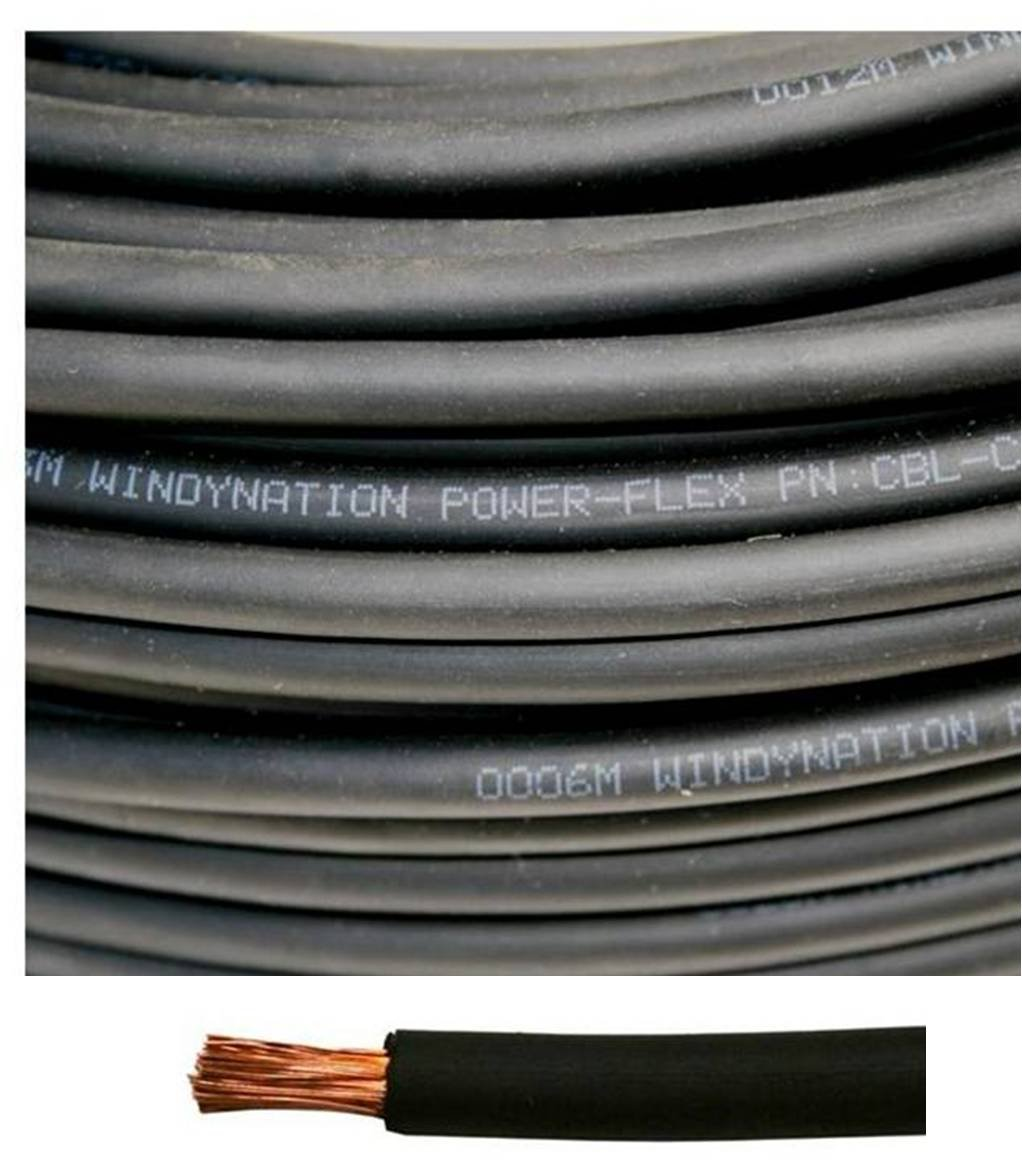 8 Gauge 8 AWG 10 Feet Black Welding Battery Pure Copper Flexible Cable Wire -- Car, Inverter, RV, Solar by WindyNation by WindyNation