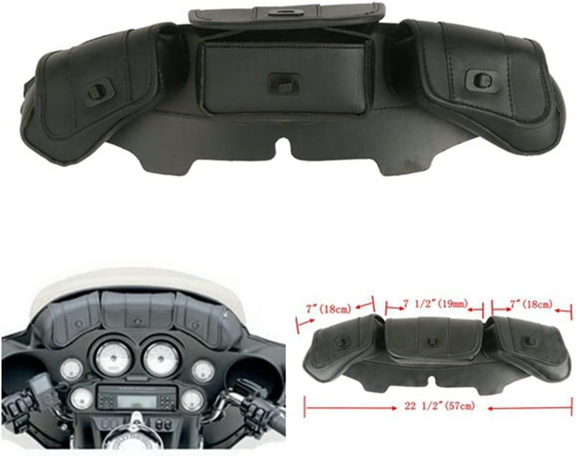 New Windshield Bag Tri Pouch 3 Pocket Fit Harley FLHTC FLHX FLHTCU Trike Models