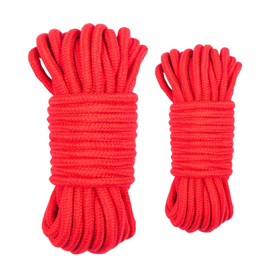 Hellery Cordage en Coton Tress/é Torsad/é Corde Multifonctionnelle Noeud Attacher La Corde pour Les Amoureux des Couples Adultes Retenue 10m Rouge