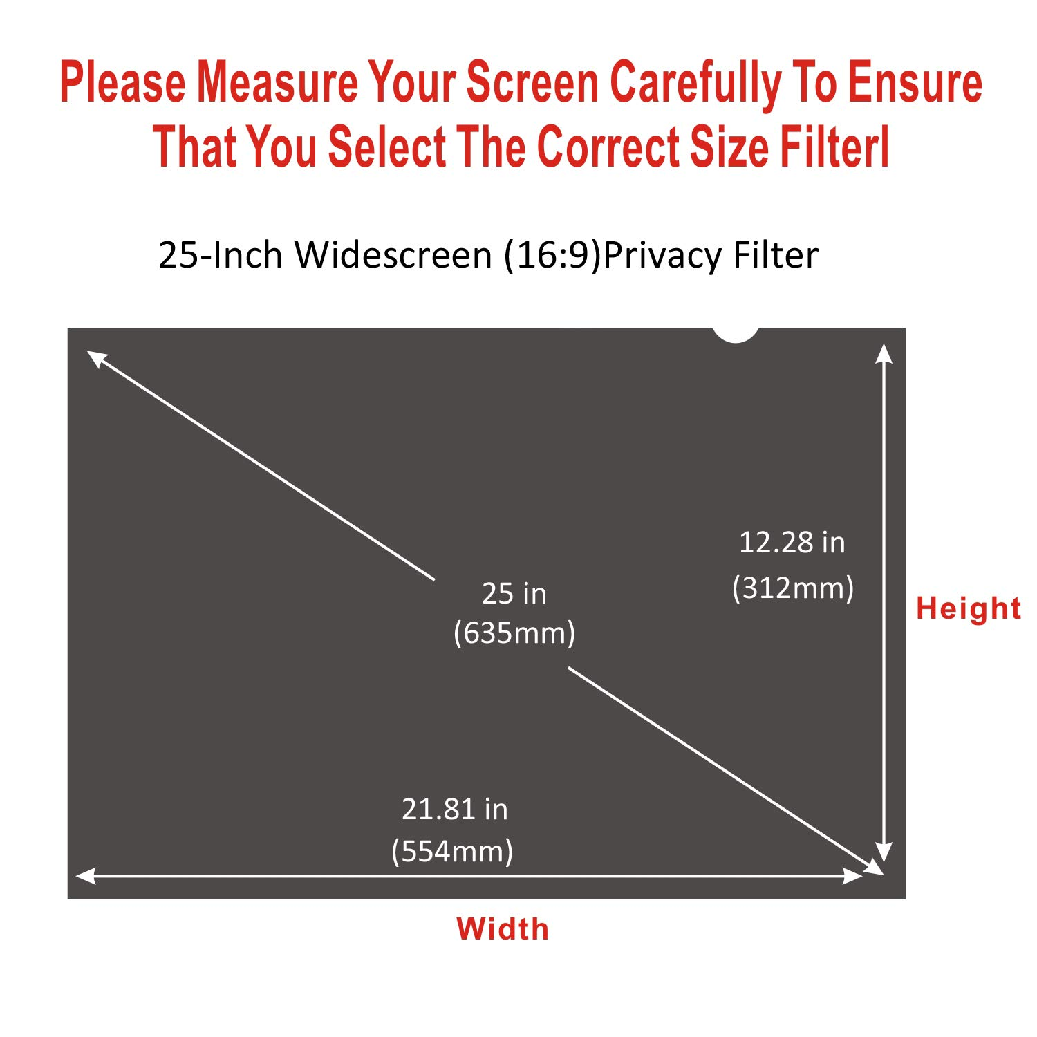 Accgonon Computer Privacy Screen Filters for 25-inch Widescreen(16:9) Monitor Privacy Screen Protector,Anti-Glare Anti-Spy Anti-Blue Scratch and UV Protection,Easy Install by ACCGONON (Image #6)