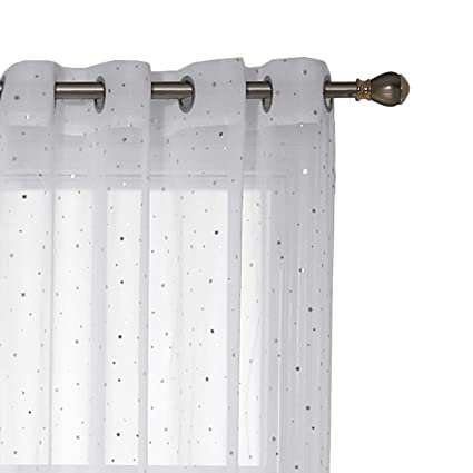 Deconovo Voile Vorhänge Transparent Gardinen Wohnzimmer Ösenschal 245x140  cm Weiß Kleines Stern 2er Set